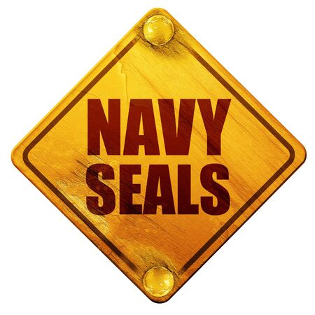 troop: navy seals, 3D rendering, yellow road sign on a white background Stock Photo
