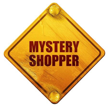 shoppers: mystery shopper, 3D rendering, yellow road sign on a white background