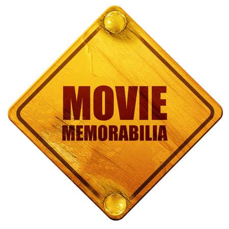 memorabilia: movie memorabilia, 3D rendering, yellow road sign on a white background