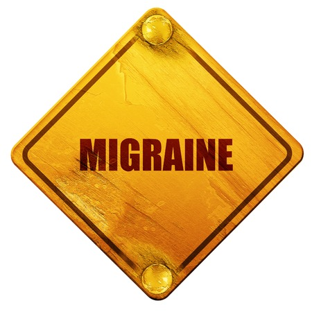 migraine: migraine, 3D rendering, yellow road sign on a white background Stock Photo