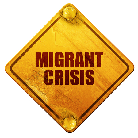 migrant crisis, 3D rendering, yellow road sign on a white background Stock Photo