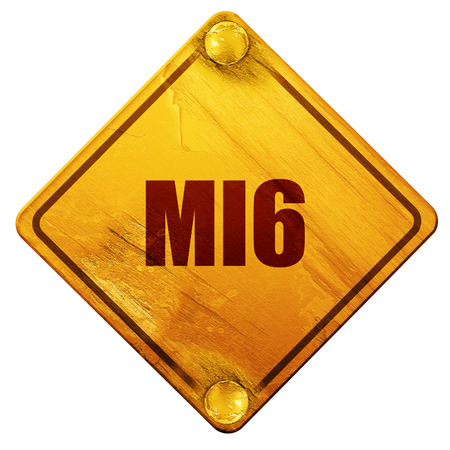 mi6 secret service, 3D rendering, yellow road sign on a white background