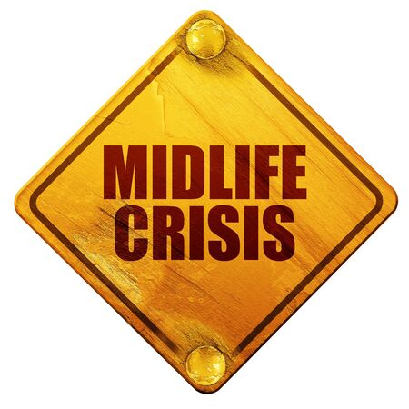 midlife: midlife crisis, 3D rendering, yellow road sign on a white background