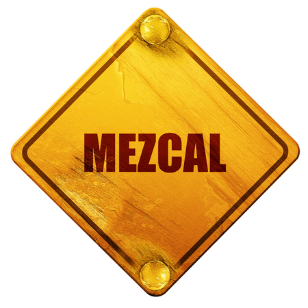 perl: mezcal, 3D rendering, yellow road sign on a white background Stock Photo