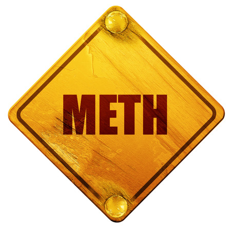 methamphetamine: meth, 3D rendering, yellow road sign on a white background