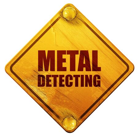 detecting: metal detecting, 3D rendering, yellow road sign on a white background