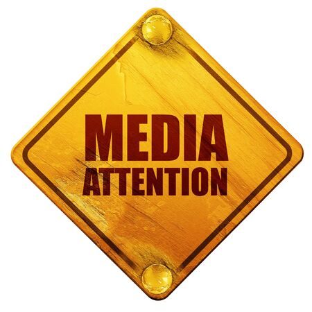 yellow attention: media attention, 3D rendering, yellow road sign on a white background