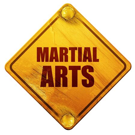 combative: martial arts, 3D rendering, yellow road sign on a white background Stock Photo