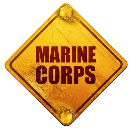corps: marine corps, 3D rendering, yellow road sign on a white background