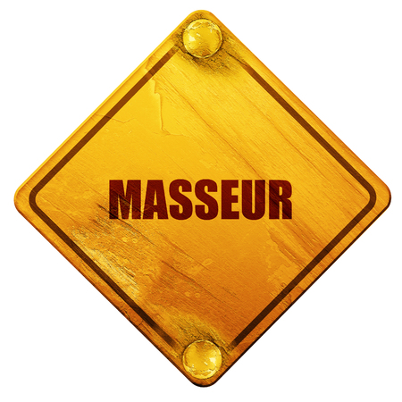 masseur: masseur, 3D rendering, yellow road sign on a white background