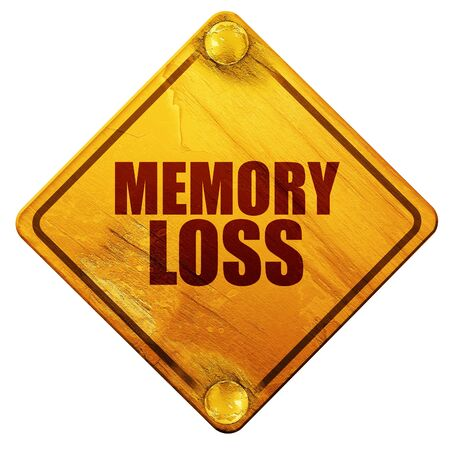 memory loss: memory loss, 3D rendering, yellow road sign on a white background Stock Photo