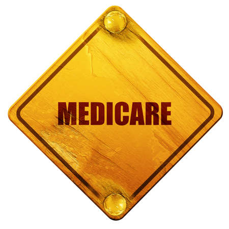 medicaid: medicare, 3D rendering, yellow road sign on a white background