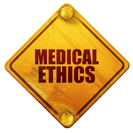 ethics: medical ethics, 3D rendering, yellow road sign on a white background