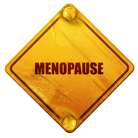 middle age woman: menopause, 3D rendering, yellow road sign on a white background