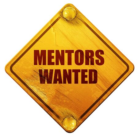 mentors: mentors wanted, 3D rendering, yellow road sign on a white background
