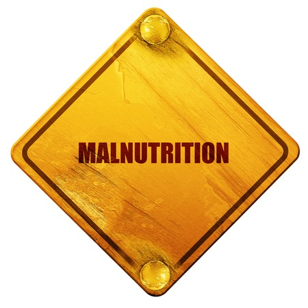 starvation: malnutrition, 3D rendering, yellow road sign on a white background