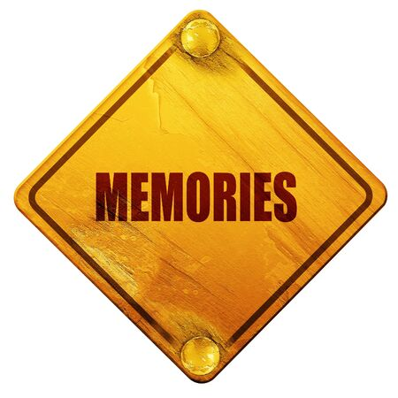 amnesia: memories, 3D rendering, yellow road sign on a white background Stock Photo
