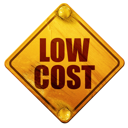 lowering: low cost, 3D rendering, yellow road sign on a white background