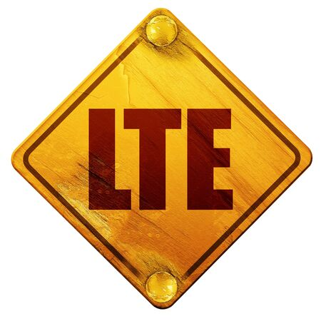 lte: lte, 3D rendering, yellow road sign on a white background