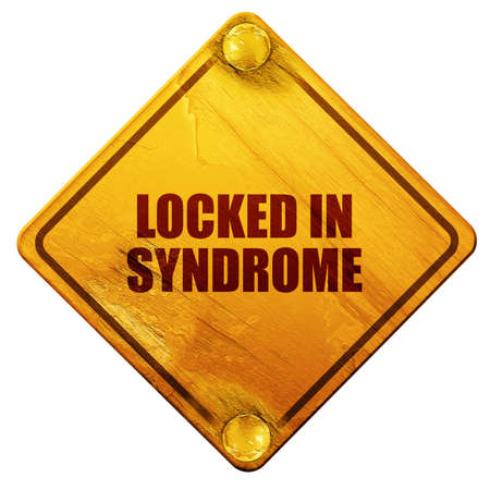 locked in: locked in syndrome, 3D rendering, yellow road sign on a white background Stock Photo