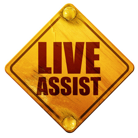 assist: live assist, 3D rendering, yellow road sign on a white background Stock Photo