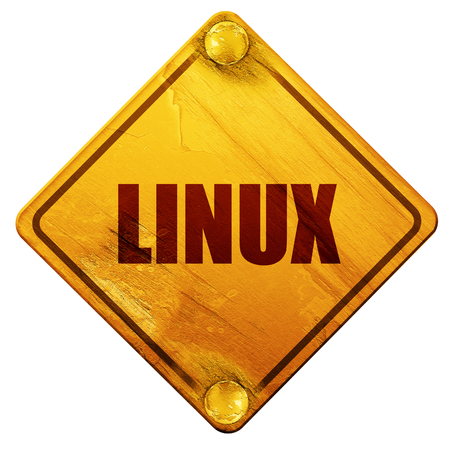 hardware configuration: linux, 3D rendering, yellow road sign on a white background Stock Photo