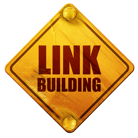 backlink: link building, 3D rendering, yellow road sign on a white background Stock Photo