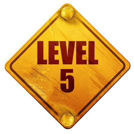 levelling: level 5, 3D rendering, yellow road sign on a white background