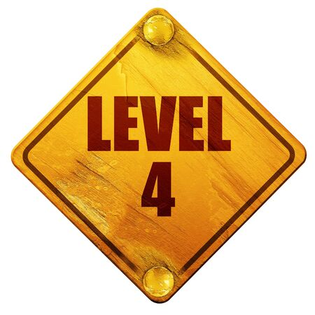 levelling: level 4, 3D rendering, yellow road sign on a white background