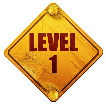 levelling: level 1, 3D rendering, yellow road sign on a white background