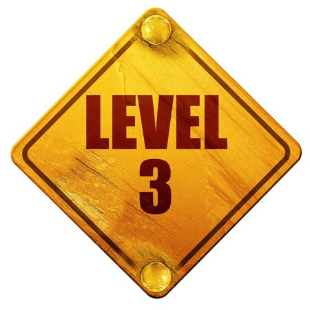 levelling: level 3, 3D rendering, yellow road sign on a white background