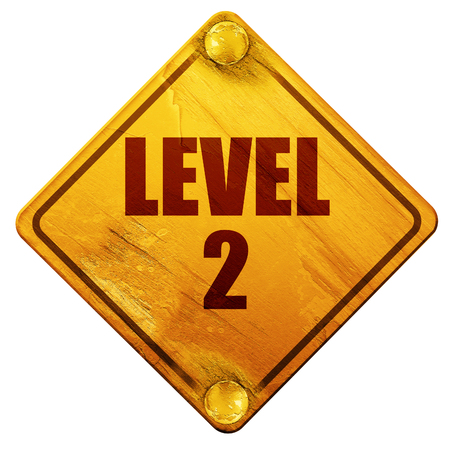 levelling: level 2, 3D rendering, yellow road sign on a white background