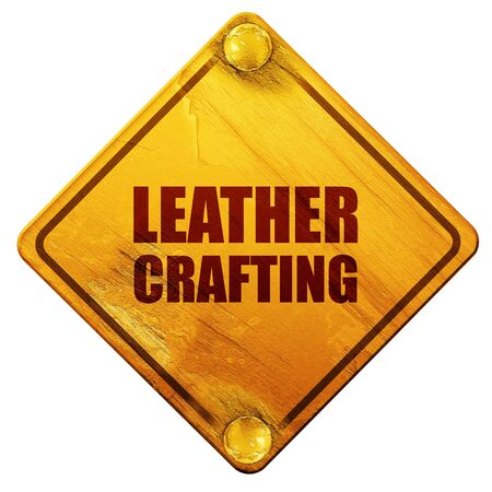 workmanship: leather crafting, 3D rendering, yellow road sign on a white background