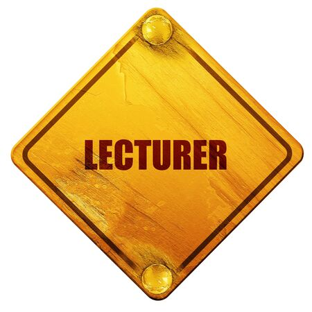 lecture hall: lecturer, 3D rendering, yellow road sign on a white background