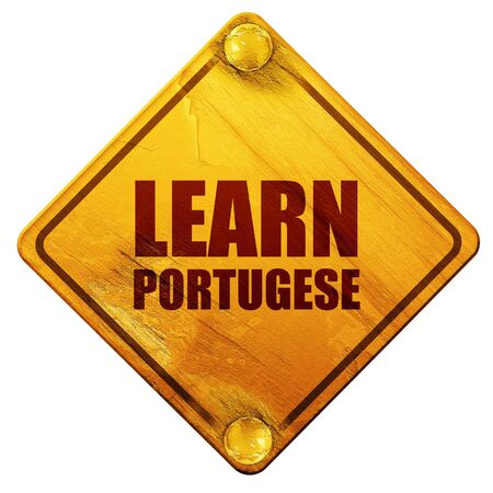 portugese: learn portugese, 3D rendering, yellow road sign on a white background
