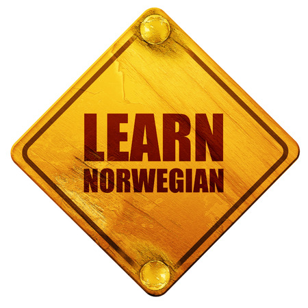 ability to speak: learn norwegian, 3D rendering, yellow road sign on a white background Stock Photo