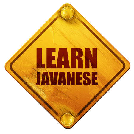 javanese: learn javanese, 3D rendering, yellow road sign on a white background