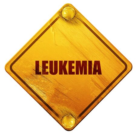 leukemia: leukemia, 3D rendering, yellow road sign on a white background