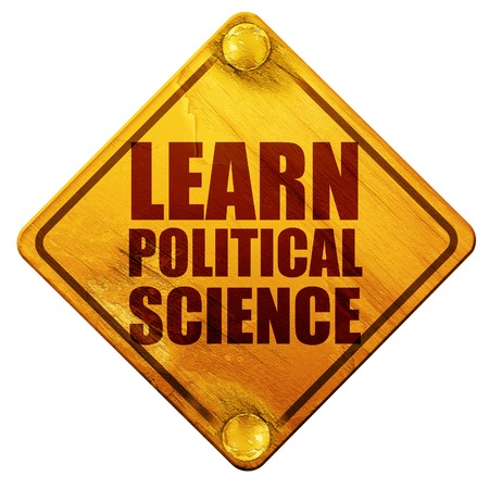social history: learn political science, 3D rendering, yellow road sign on a white background Stock Photo