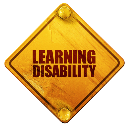 mentally: learning disability, 3D rendering, yellow road sign on a white background