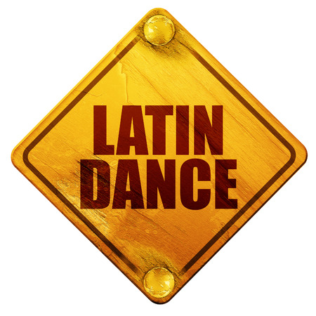 3d dance: latin dance, 3D rendering, yellow road sign on a white background