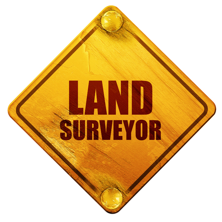 surveying: land surveyor, 3D rendering, yellow road sign on a white background
