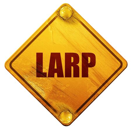 role play: larp, 3D rendering, yellow road sign on a white background