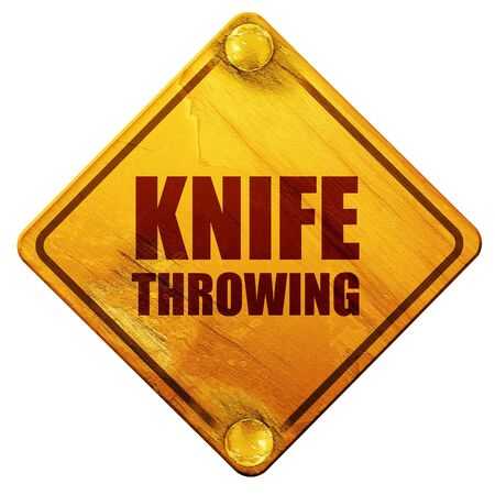 throwing knife: knife throwing, 3D rendering, yellow road sign on a white background Stock Photo