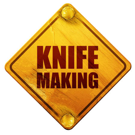 sign making: knife making, 3D rendering, yellow road sign on a white background