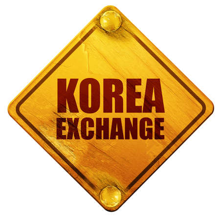 korea exchange, 3D rendering, yellow road sign on a white background Stock Photo