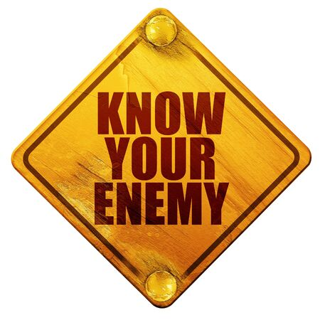 enemy: know your enemy, 3D rendering, yellow road sign on a white background