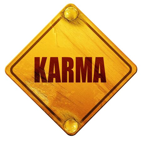 karma, 3D rendering, yellow road sign on a white background