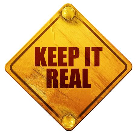 truthful: keep it real, 3D rendering, yellow road sign on a white background