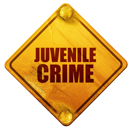 remorse: juvenile crime, 3D rendering, yellow road sign on a white background